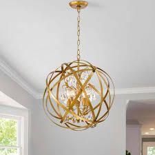 Benita 5 light Metal Globe Crystal Chandelier