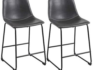 Phi Villa Square PU leather Counter Height Chairs
