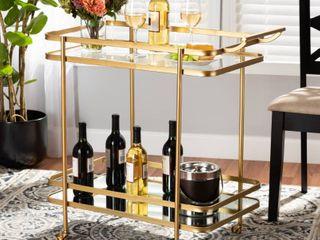 Destin Glam Metal Mirror Glass Rolling Kitchen Cart SEE DESCRIPTION