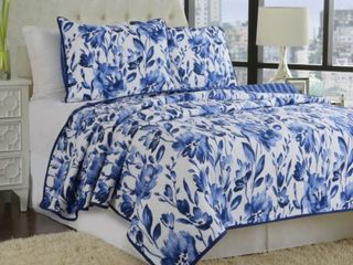 Quilted Floral Bedding Set Full Queen Size