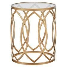 Silver Orchid Grant Glass Metal Eyelet Accent Table