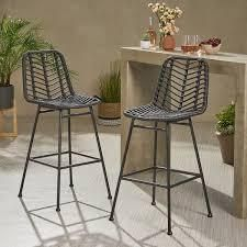 Sawtelle Outdoor Wicker Barstools by CKH SET OF 2