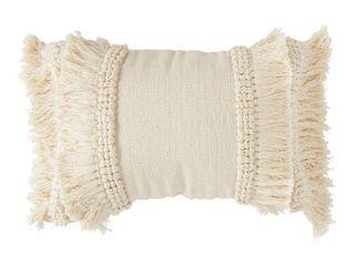 3R Studios Cotton Chenille Woven Breakfast Pillow w  Fringe
