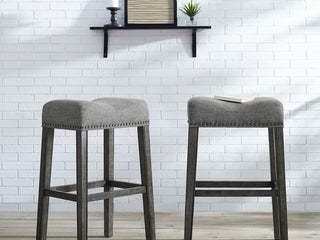 The Gray Barn Overlook Upholstered Backless Saddle Bar Stools SET OF 2