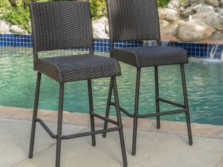 Neal Outdoor Wicker Barstools by CKH SET OF 2