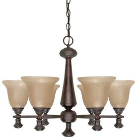 Nuvo 6 light Chandelier w  Amber Water Glass