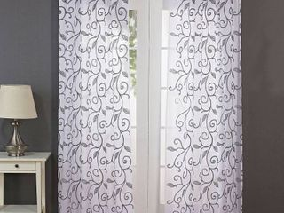 Modern Threads leaf Swirl Embroidered Curtain Panels SET OF 2
