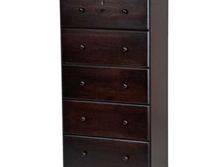 Solid Wood 5 Super Jumbo Drawer Chest w  lock  INCOMPlETE ITEM