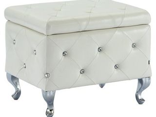 nspire Faux leather Storage Ottoman w  Crystals