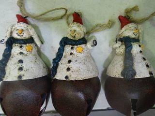 lot of 3 Snowman Bells