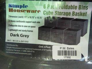 lot of Dark Grey Cube Storage Baskets