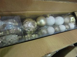 lot of Gold and White Glitter Ornaments