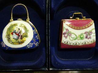 Pair of 24 Karat Gold Trimmed Porcelain Purses