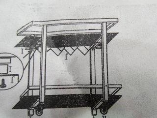 Wood and Metal Bar Service Cart