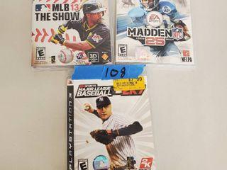 Major league Baseball 2K7  MlB 13 The Show  Madden 25  PS3 Games