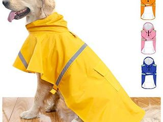 HAPEE Dog Raincoats for large Dogs with Reflective Strip Hoodie Rain Poncho Jacket for Dogs
