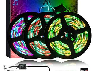 50FT Dream Color Music led Strip lights  810pcs Music lED lights Strip Flexible Rope light with IR 20 Keys Remote  Rainbow Music to Sync led Strip for Bedroom Party Christmas Halloween Decoration