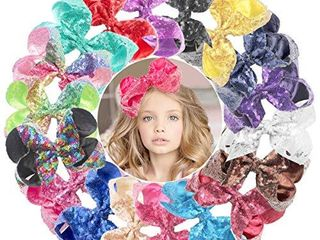 DeD 18 Pieces Glitter 6 Inch Rainbow Hair Bows Clips Big Sequins Bow Alligator Clips Hair Accessories for Baby Girl Toddlers Kids