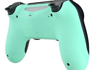 eXtremeRate Soft Touch Mint Green Back Housing Case Cover Bottom Shell  Game Improvement Replacement Parts for Playstation 4 PS4 Slim Pro Controller JDM 040  JDM 050 and JDM 055
