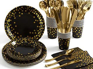 Black and Gold Party Supplies 175 Pieces Golden Dot Disposable Party Dinnerware   Black Paper Plates Napkins Cups  Gold Plastic Forks Knives Spoons for Graduation  Birthday  Cocktail Party