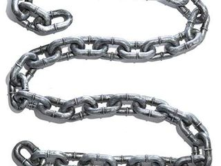 Prextex Halloween Silver   Black 6 Ft  Halloween large Plastic Chain link  Shackles for Best Costume Accessory or Halloween Decor Prop