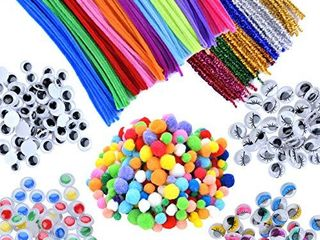 EpiqueOne 750 Pieces Kids Art   Craft Supplies Assortment Set for School Projects  DIY Activities   Parties  Pipe Cleaners   Chenille  Pom Poms  Googly Eyes  Mascara Eyes  Colored Eyes for Sensory