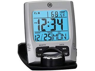 Marathon Travel Alarm Clock with Calendar   Temperature   Phone Stand Function   Battery Included   Cl030023  Silver