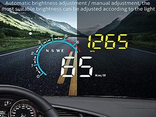 FIUNED Head up Display Upgrade Universal Car HUD Dual Mode OBD2 GPS Windshield Projector with Speed OverSpeed Alarm  KMH MPH Mileage Measurement for All Vehicles