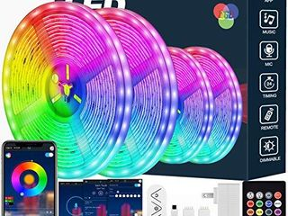 led Strip lights 60ft led light Strip Music Sync Color Changing RGB led Strip Built in Mic Bluetooth App Control lED Tape lights with Remote 5050 RGB Rope light Strips  APP Remote Mic 3 Button