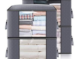king do way Closet Organizer Clothes Storage Bags large Capacity Storage Organizers with Reinforced Handle Stainless Steel Zipper 3 layer Fabric for Comforters Bedding Blankets Clothing  Grey  Storage without Divider 4 Pack