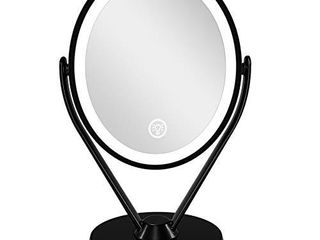Aesfee Double Sided 1x 7x Magnification lED Makeup Mirror with lights  lighted Vanity Magnified Mirror USB Chargeable  Touch Sensor Control 3 light Settings Illuminated Countertop Mirrors   Black