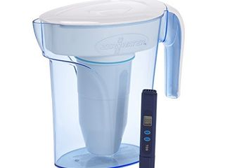 ZeroWater ZP 006 4  6 Cup Water Filter Pitcher with Water Quality Meter White and Blue