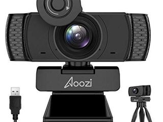 Aoozi Webcam with Microphone  Webcam 1080P USB Computer Web Camera with Facial Enhancement Technology  Widescreen Video Calling and Recording  Streaming Camera with Tripod