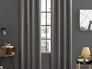 Sun Zero Soho 2 Pack Energy Efficient Blackout Grommet Curtain Panel Pair  108  x 96  Gray