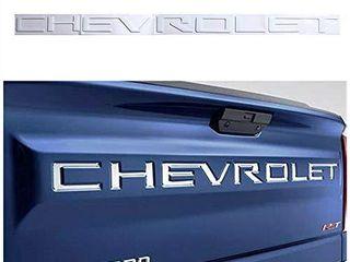 Tonet CV 01W Custom 3D Raised ABS Nameplate Chevy letters Badge Tailgate Emblem Decal Insert For Chevrolet 2019 2020 Silverado 1500 2500 3500  White