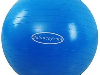 BalanceFrom Anti Burst and Slip Resistant Exercise Ball Yoga Ball Fitness Ball Birthing Ball with Quick Pump  2 000 Pound Capacity  Blue  58 65cm  l
