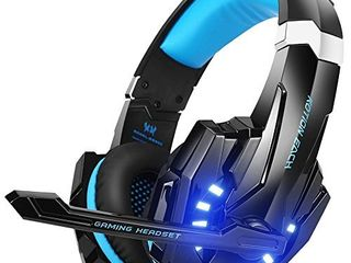 BENGOO G9000 Gaming Headset Professional 3 5mm PC lED light Game Bass Headphones Stereo Noise Isolation Over ear Headset Headband with Mic Microphone For PS4 laptop Computer and Smart Phone