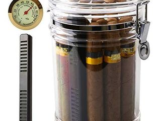XIFEI Acrylic Humidor Jar with Humidifier and Hygrometer humidor That can Hold About 18 Cigars  Clear