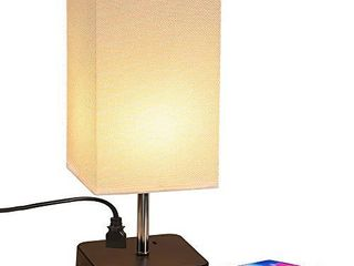 Grace Modern Desk lamp  USB Table lamp  Bedside Table   Desk lamp with Black Wooden Base   Soft Ambient lighting  Useful 2 USB Charging Ports Perfect for Table in Bedroom living Room or Office
