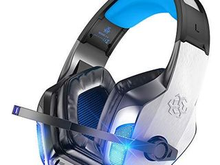 BENGOO V 4 Gaming Headset for Xbox One  PS4  PC  Controller  Noise Cancelling Over Ear Headphones with Mic  lED light Bass Surround Soft Memory Earmuffs for PS2 Mac Xbox 360 PS5 Games