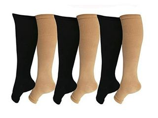Open Toe Toeless Compression Socks 6 Pairs For Women Men 15 20 mmHg Calf Support Compression Sleeve S M  Black Nude