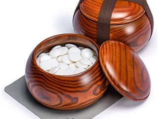 Yellow Mountain Imports Single Convex Melamine Go Game Stones Set  21 5 to 22 Millimeters  Size 3  Includes Jujube Bowls