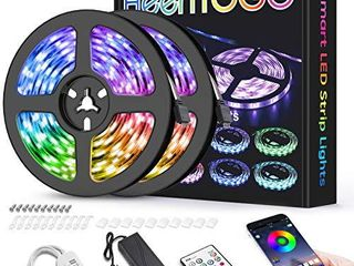 lED Strip lights for Bedroom 32 8ft HEERTTOGO Waterproof IP65 300 lEDs 5050 RGB lED lights Strip Music Sync Color Changing RGB lED Strip with Blutooth IR Remote Controller and Wired Controller