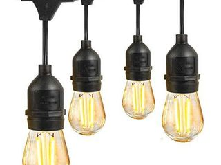 led Outdoor String light Waterproof Shatterproof  Eicaus 48 Ft Commercial Grade Weatherproof Dimmable lights Strand with 2W Plastic Vintage Edison Bulbs  Decorative lighting for Patio Bistro Garden
