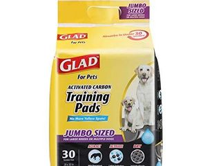 Glad for Pets JUMBO SIZE Charcoal Puppy Pads   Black Training Pads That ABSORB   Neutralize Urine Instantly   New   Improved Quality Puppy Pee Pads  30 Count