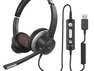 Mpow HC6 USB Headset with Microphone  Comfort fit Office Computer Headphone  On Ear 3 5mm Jack Call Center Headset for Cell Phone  270 Degree Boom Mic  in line Control with Mute for Skype  Webinar