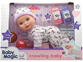 little Darlings Baby Magic Crawling Baby  3493  10 Plastic Body Baby Doll  Baby crawls and coos and Accessories  Age 2
