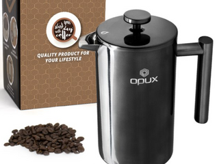 OPUX Heavy Grade French Press  Stainless Steel Insulated Press Pot with 4 layer Filter System  Rust Free  Dishwasher Safe  100  No Grounds in Coffee  Includes 2 Extra Filters  Black