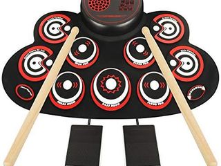 Electronic Drum Set   YUOIOYU Practice Drum Pad Roll Up Potable Drum Kit with Headphone Jack Built in Speaker Drum Sticks 10 Hours Playtime  Great Holiday Birthday Gift for Kids Adult