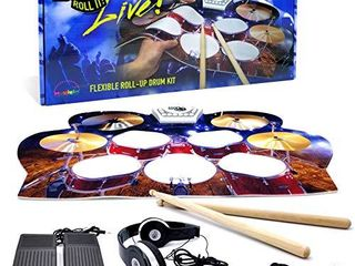 Rock And Roll It   Drum live  Flexible  Completely Portable  Battery   USB Powered that gives you the view of being on stage  Headphones  Required    Drum Sticks   Bass Drum   Hi hat pedals included